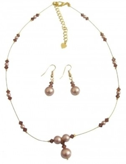 Brown Illusion Crystals Pearls Necklace Jewelry Set