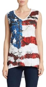 William Rast American Flag Patiriotic Comfortable Hi Lo Casual Top Red, White and Blue