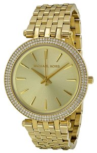 Michael Kors Gold tone Crystal Pave Bezel Stainless Steel Designer Ladies Watch