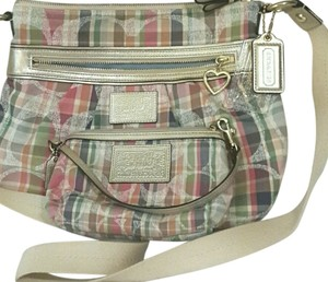 Coach Satchel in Blue, Green, Brown, Tan, and Pink Plaid
