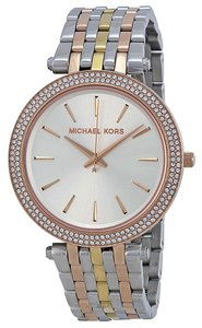 Michael Kors Crystal Pave Bezel Silver toe Two Tone Stainless Steel Designer Ladies Watc