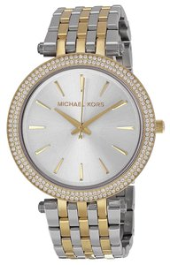 Michael Kors Crystal Pave Silver tone Gold Stainless Steel Designer Ladies watch