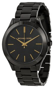 Michael Kors Black Ion Plated Stainless Steel Classic Casual Designer Ladies Watch