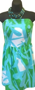 Lilly Pulitzer short dress Blue/Green/White Dragonfly Print Summer on Tradesy