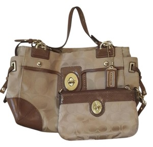 Coach Satchel in Tan, Gold, and Nutmeg