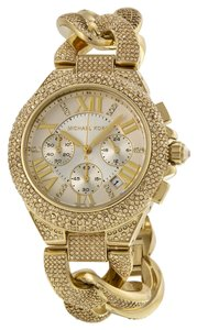 Michael Kors Crystal Pave Encrusted Gold tone Fashion Designer Luxury Ladies Dress Watch