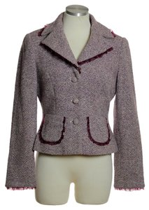 Kay Unger Wool Blend Tweed Pocket Purple Multi Blazer