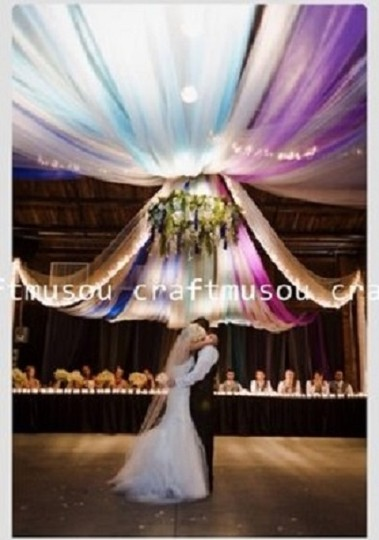 """Assorted Colors Draping Chandelier Tulle Bolt 54"""" X 120 Feet (200yard) with Led String Light- Premier Quality Reception Decoration"""