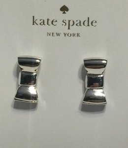 Kate Spade Kate Spade New York Take A Bow Silver Tone Bangle Bracelet and Stud Earrings Set with Bagity Gift Box
