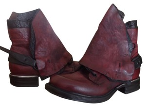 A.S. 98 Moto Leather Zip Maroon/Black Boots