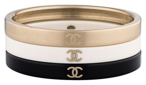 Chanel Chanel Cuff 3 Set Stacking Stack Bracelet Bangle Resin Black Gold White 11C Classic Timeless Authentic Jumbo Maxi CC Logo
