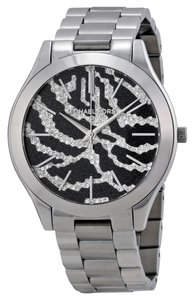 Michael Kors Crystal Pave Silver and Black Zebra Print Silver Stainless Steel Designer Watch