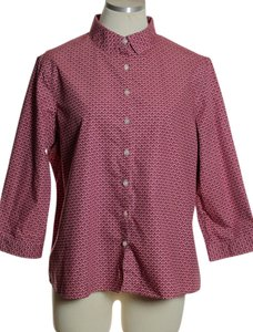 Lands' End 3/4 Sleeve No-iron Button Down Shirt Pink Multi