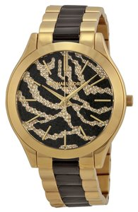 Michael Kors Crystal Pave Dial Gold and Black Stainless Steel Zebra Print Casual Designer watch
