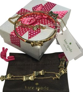 Kate Spade Kate Spade New York Take A Bow Gold Tone Necklace and Bangle Bracelet Set with Bagity Gift Box