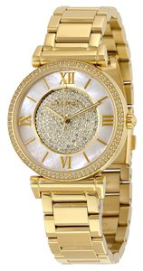 Michael Kors Crystal Pave Mother of Pearl Dial Gold tone Stainless Steel Designer watch
