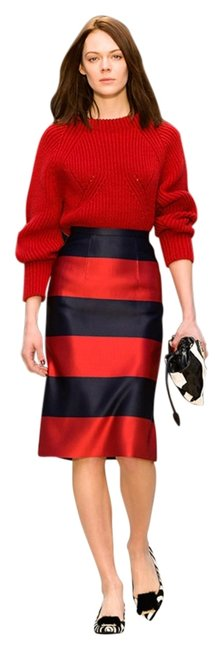 Item - Red New Pencil Silk Satin Striped Skirt Size 6 (S, 28)