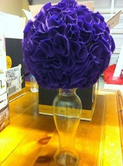 Eggplant/Dark Purple Fabric Pomanders Centerpiece