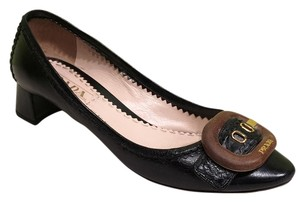 Prada 37 Leather Low Heels Wood Bucckle 6.5 7 Black Pumps
