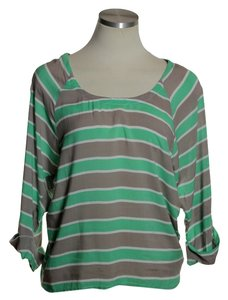 Splendid Tab Sleeve Striped Hi-lo Top Green/Beige