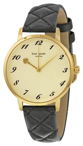 Kate Spade KATE SPADE Metro Gold tone Dial Black Quilted Leather Ladies Watch