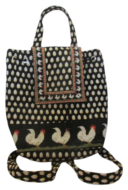 Item - Rooster Hen Eggs Black/Orange/Cream Quilted Fabric Backpack