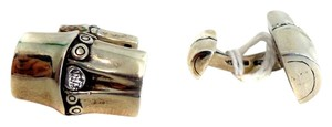 John Hardy John Hardy Mens Sterling Silver Rectangle Bamboo Style Cufflinks