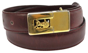 Céline Celine Belt Horse Carriage Equestrian Rider Logo Burgundy Bordeaux Red Black Gold Metal Hardware GHW Jumbo XL Maxi Classic Timeless