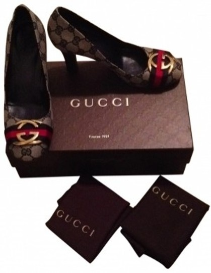 Gucci Navy/Ebony GG Canvas Pumps