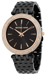 Michael Kors Black Ion Plated Crystal Pave Rose Gold Accent Designer Casual watch