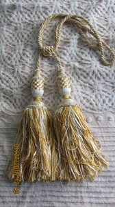 Elaborate Gold & White Double Tassled Curtain Tie Back