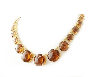 Henri Bendel NEW Henri Bendel Hand Me Down Statement Necklace 18k Gold GP Round Amber Crystals