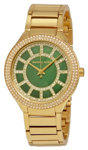 Michael Kors Crystal Pave Green Dial Gold tone Stainless Steel Designer Dress Watch