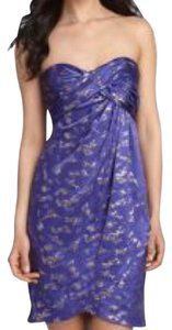 Nicole Miller Strapless Foil Print Metallic Royal Mini Dress