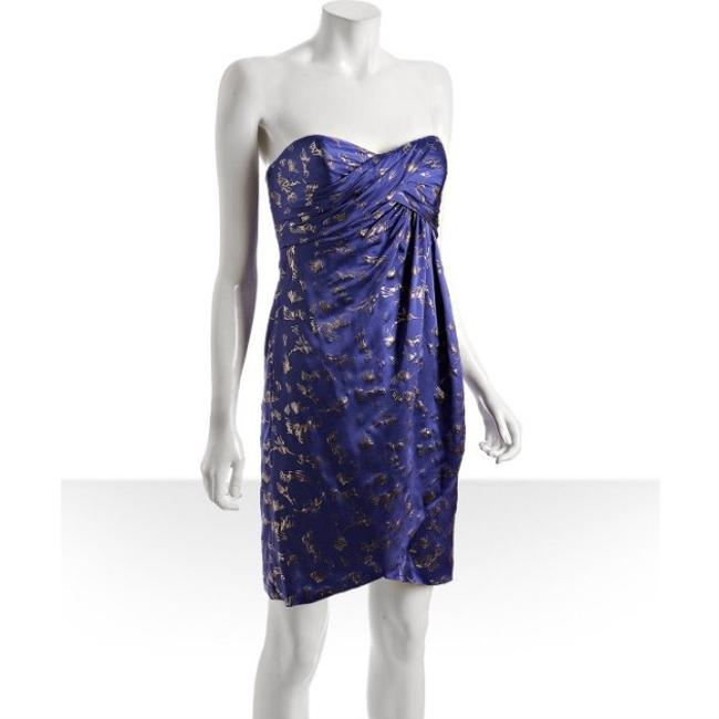 Nicole Miller Strapless Foil Print Metallic Royal Mini Purple Dress