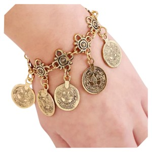 Other Silver & Bronze Gold Turkish Boho Coin Stretch Bracelet