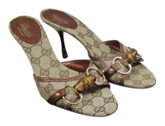 7bee5c050f3 Gucci Horsebit Bamboo Guccissima Gg Canvas Slides Open Toe Size 6 6 B  Monogram Sandals Image ...