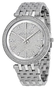 Michael Kors Luxury Crystal Pave Dial and Bezel Stainless Steel Designer Dress Watch