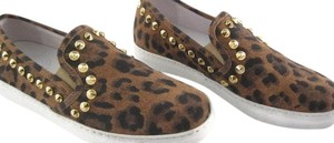 STOKTON Sneaker Slip-on Italian Leather Studded Leopard Print Flats