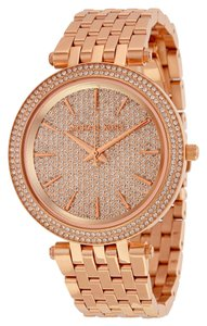 Michael Kors Crystal Pave Rose Gold Stainless Steel Luxury Designer watch