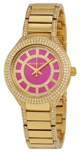 Michael Kors Crystal Pave Hot Pink Dial Gold tone Mini Designer Ladies Dress Watch