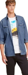 Hollister Button Down Shirt Denim Blue
