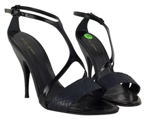Narciso Rodriguez Tstrap Heels 7.5 8 Black & Blue Sandals