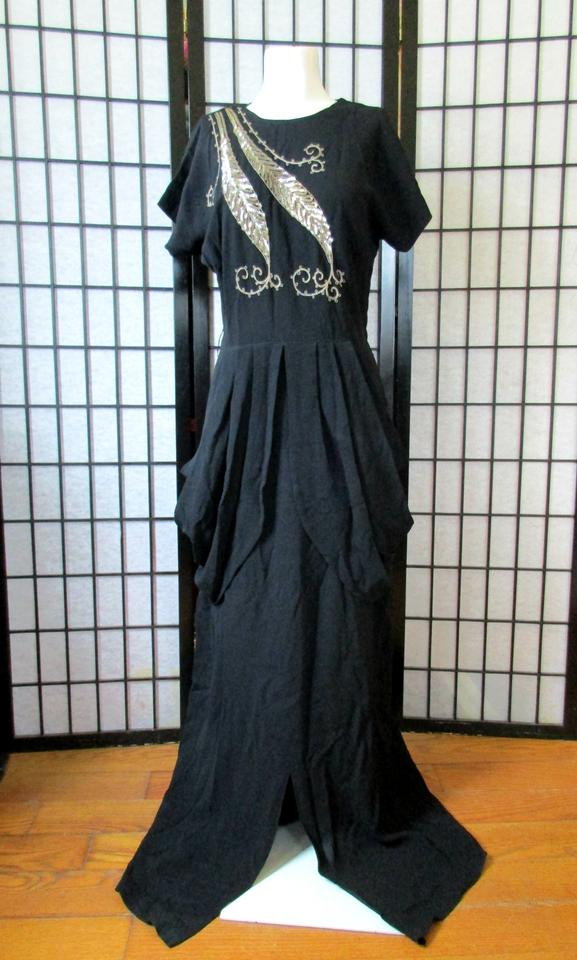 Black Vintage Maxi with Sequins 1930s 1940s Long Formal Dress Size ...
