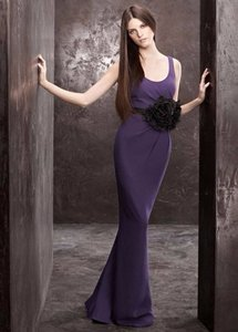 White By Vera Wang Amethyst Matte Crepe Column Dress With Cowl Back Dress