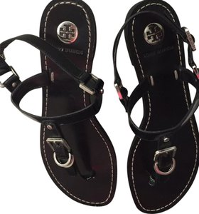 Tory Burch Black with silver buckles Sandals