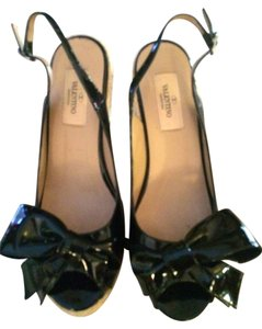 Valentino Black patent Wedges