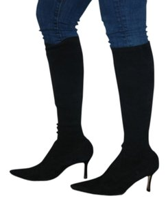 Manolo Blahnik Suede Leather Stretch Knee black Boots