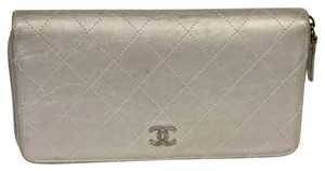 Chanel Chanel Metallic SIlver Quilted Diamond CC Logo with Chrome Hardware