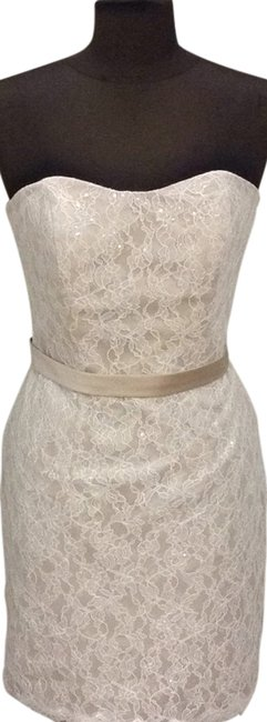 Item - Ivory/Champagne 4059ssa Above Knee Cocktail Dress Size 10 (M)